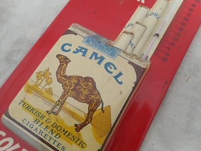 Camel Cigarette Metal Advertising Thermometer Mid 20Th Century 15 Inches Tall