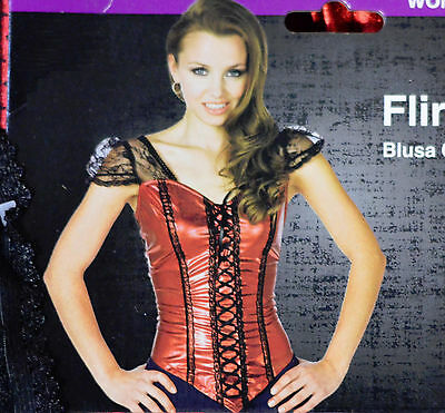 Red Flirty Top Costume Lace Corset womens Large 12-14