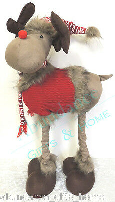 Large Standing Plush Rudolf the Reindeer Christmas Decoration Extendable to 80cm