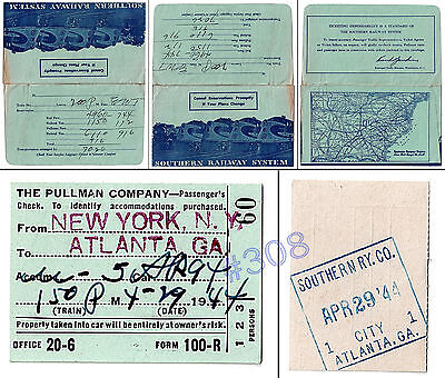 PULLMAN Co. SOUTHERN RAILWAY USA WW2 TICKET - 29.04.1944 New York to Atlanta GA