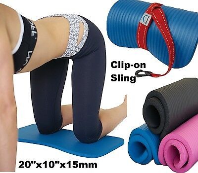 KNEE PAD CUSHION Yoga Exercise Workout FREE Sling 15mm Thick Mini Mat