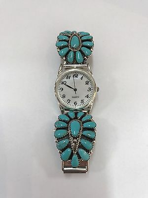 Native American Sterling Silver Navajo  Turquoise Cluster Mens Watch
