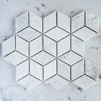 Carrara Marble Prism Mosaic Tiles (Sheet)