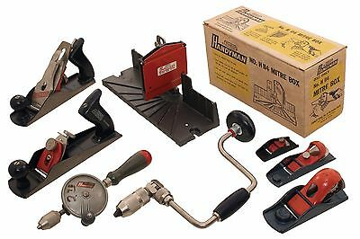Collection of Extra Clean Stanley Handyman Tools -Planes, Brace, Mitre Box
