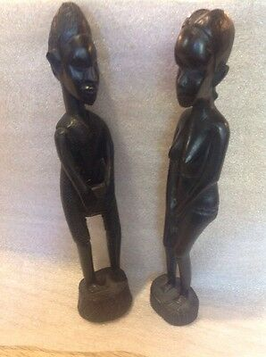 Vintage Wood Carved Tribal Man And Woman Statues