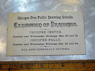 1870s-80s Chicopee, MA Drawing School, Exhibition of Drawings Trade Card F13