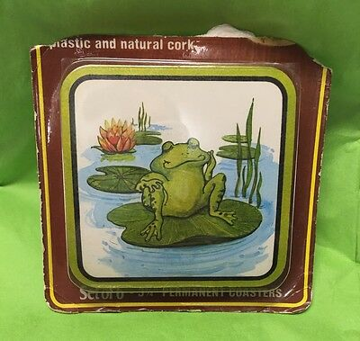 Set of 6 Perament Coasters Frog Chilling on Lily Pad 3 3/4 Sealed Cork back