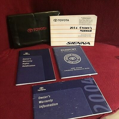 2004 Toyota Sienna Owners Manual with warranty and maintenance guides and case