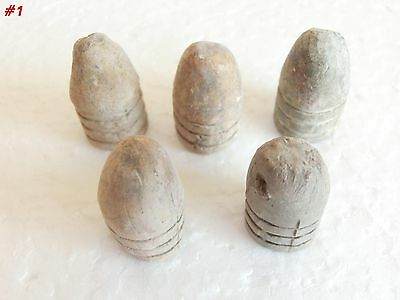 CRIMEAN WAR 1853 -1856 LOT OF 5 LEAD BULLETS ~ three rings