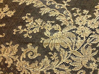 Antique Panel of Brussels Duchesse Bobbin Lace, Embroidery on Veil Uneven Shape