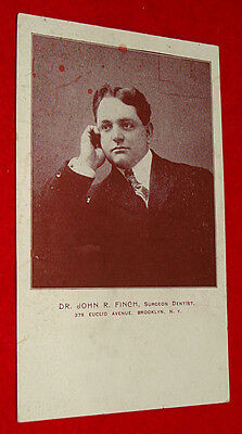 Antique Postcard Brooklyn NY Surgeon / Dentist Dr. John Finch Doctor - Unposted