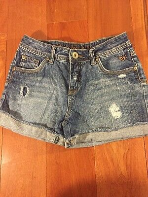 Justice Girls 12R Simply Low Denim Factory Distressed Jean Shorts