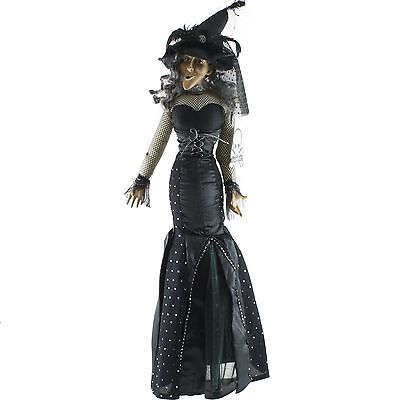 "Halloween Witch Doll Figure Long Black Dress 33"" Tall Luxe Habitat"