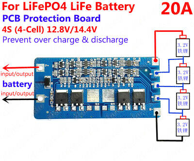 4S LiFePo4 LiFe Batterie Packs 12.8V 14.4V 20A BMS Protection PCB Circuit Board
