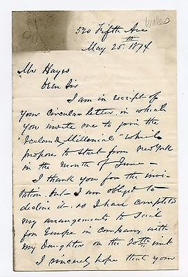 S.H.Wales   Author, Journalist  Two Page Letter (ALS) dated May 25, 1874