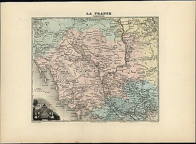 French Cambodia Asia Le Pnom sacred Temple view Siam 1903 decorative antique map