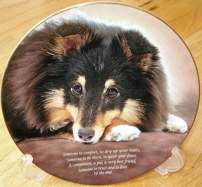 Danbury Mint Shetland Sheepdog Sheltie Someone to Comfort Plate