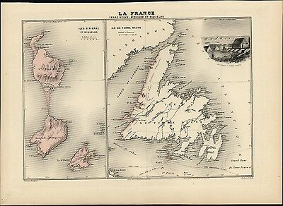 French St Peters island Miquelon Newfoundland Canada 1903 decorative antique map