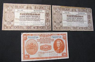 Lot of 3 Netherlands Notes - 2x 1938 1 Gulden, 1943 50 Cents