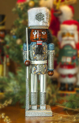 African American Black Ethnic Silver and Blue Glitter Soldier Nutcracker
