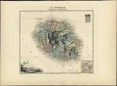 French Réunion Kerguelen Islands St. Denis view fine 1903 decorative antique map