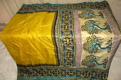 Pure silk Antique Vintage Sari Saree Fabric REUSE 4y Dgi Yellow Blue #AC8M3