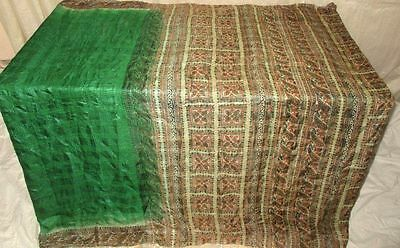 Pure silk Antique Vintage Sari Saree Fabric REUSE 4y Dgi Green Cream #AC8MA