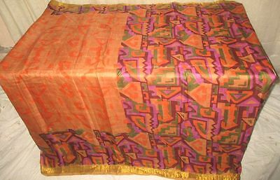 Pure silk Antique Vintage Sari Saree Fabric REUSE 4y Dgi Multi-color #AC8MF