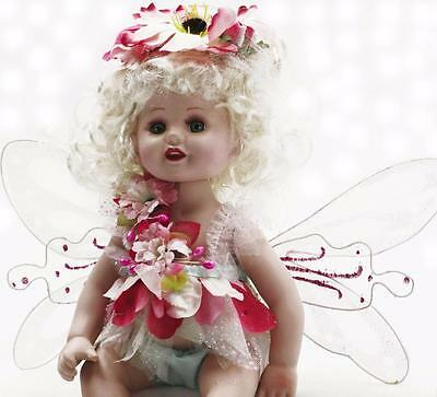 """Collectible Porcelain White Hair Green Eyes Sitting Fairy Baby Doll  13"""""""