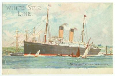 c1908 White Star Line Steamship Majestic Leaving Queenstown