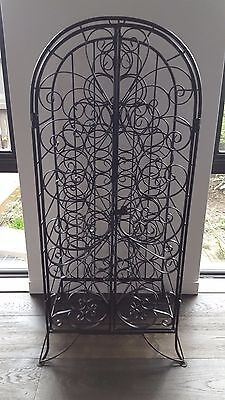 Ornate Wrought Iron Wine Rack (Holds 34) - Black - Free Standing