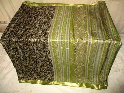 Pure silk Antique Vintage Sari Saree Fabric REUSE 4y Dgi Black Henna #AC8MI