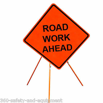 """Road Work Ahead 36"""" X 36"""" Vinyl Fluorescent Roll Up Sign And Tripod Stand"""