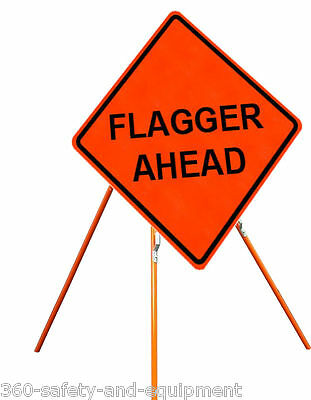"""Flagger Ahead 48"""" X 48"""" Vinyl Fluorescent Roll Up Sign And Tripod Stand"""