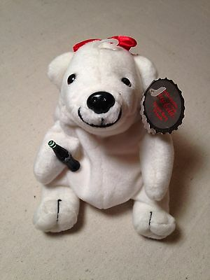 COCA COLA Polar Bear In Red Bow bean bag plush with tags 1997 style # 0106
