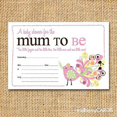 New Baby - Baby Shower Invitation - Floral Bird - Packs of 20
