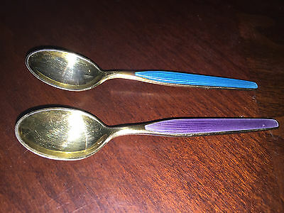 Vintage Lot Of 2 Sterling Spoons Gold With Blue & Purple Handles Norway