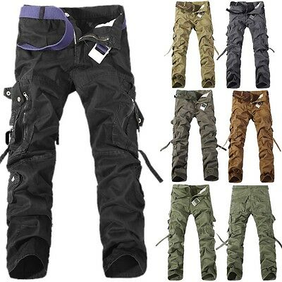Combat Men's Cotton Cargo ARMY Long Pants Military Camouflage Camo Trousers Lot