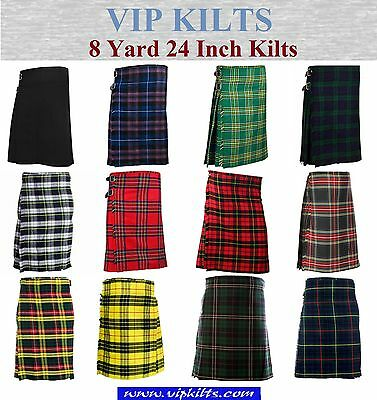 Mens Scottish 8 Yard 16 OZ Casual / Party / Sports Kilts 24 Inch Various Colours
