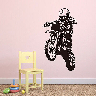 Removable Adhesive Home Motor Cross Racer Wall Sticker Living Room Vinyl Mural