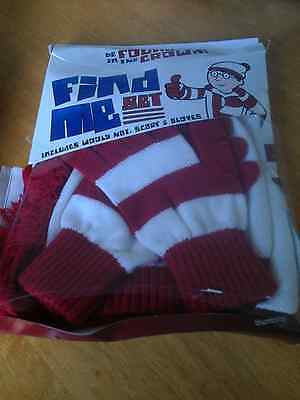 New Find Me Wheres Wally Wooly Hat Scarf Gloves Set Red/white Large Boys/girls