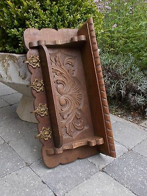 Small Ornate  Carved Wood Coat Hall/Kitchen Rack 4 Hooks Lovely