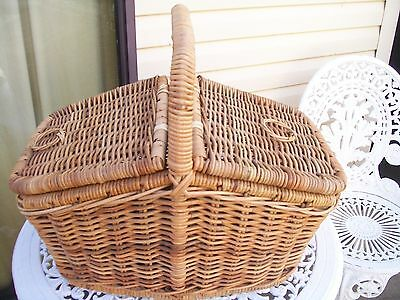 vintage large cane sewing craft picnic basket from 1960s era size 40x40cm