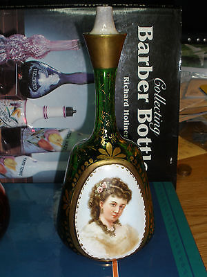 barber/perfume bottle hand blown and hand painted