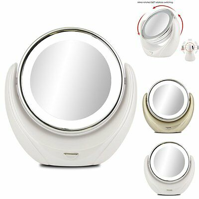 New Lighted Makeup Mirror Vanity LED Double Sided Compact Stand Magnifying 1x/5x