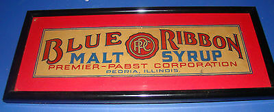 blue ribbon malt cardboard sign pabst framed with glass and wall hanger