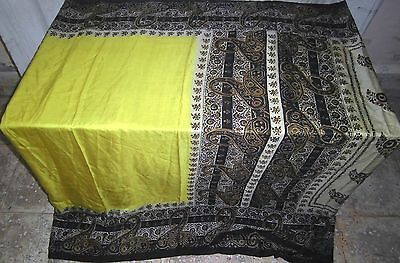 Pure silk Antique Vintage Sari Saree Fabric REUSE 4y Bhi Yellow Black #ABEZ6