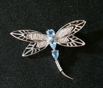 Unique 10k White Gold Aquamarine and Diamond Dragonfly Pin/ Brooch #1014