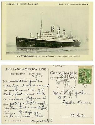 1938 Steamship Statendam - posted NY & Pitts railroad RPO