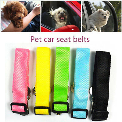 Candy Color Adjustable Dog Pet Car Safety Seat Belt Restraint Lead Travel Leash